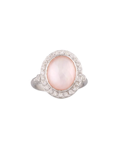 New World Rose Quartz & Mother-of-Pearl Doublet Ring with Diamonds, Size 6.5
