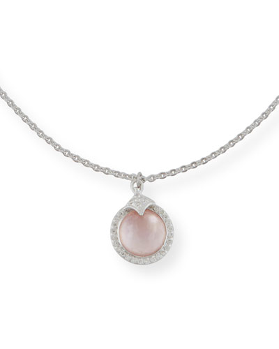 Rose Mother-of-Pearl & Quarts Pendant Necklace with Diamonds