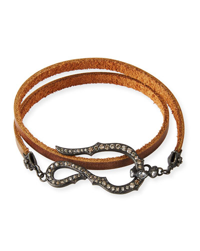 Pavé Diamond Hook Leather Wrap Bracelet