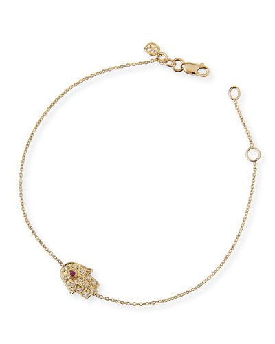 14k Gold Diamond Mini Hamsa Bracelet
