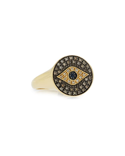 Medium Brown Diamond Evil Eye Ring, Size 6.5