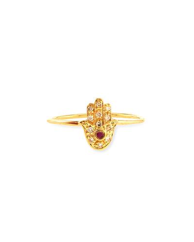 Yellow Gold Baby Hamsa Ring