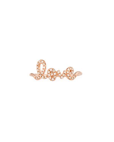 14k Gold Diamond Love Script Ring