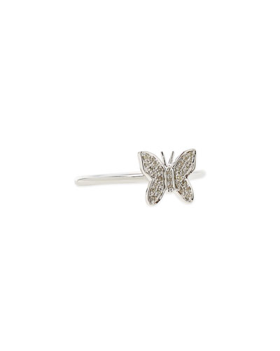 14-Karat White Gold Butterfly Ring with Pave Diamonds