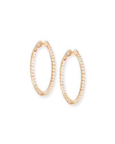 25mm 18K Rose Gold Micro-Pave Diamond Hoop Earrings