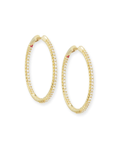 30mm Micro Pavé Diamond Hoop Earrings in 18K Yellow Gold