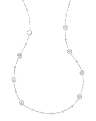 Rock Candy Ball and Stone Station Necklace in Mother-of-Pearl, 38