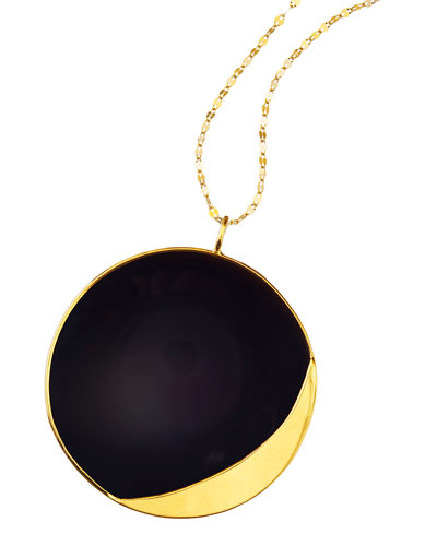 14k Elite Small Jet Disc Onyx Necklace