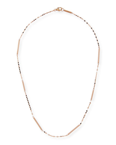 14K Gold Short Bar Station Necklace