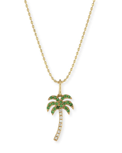 Pavé Diamond & Green Garnet Palm Tree Charm Necklace