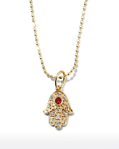 Hamsa pendant necklace neiman marcus quick look sydney evan 14k gold diamond hamsa pendant necklace aloadofball Gallery