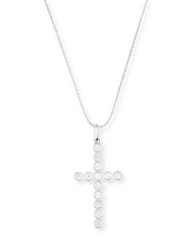 14K Gold Bezel-Set Diamond Cross Charm Necklace