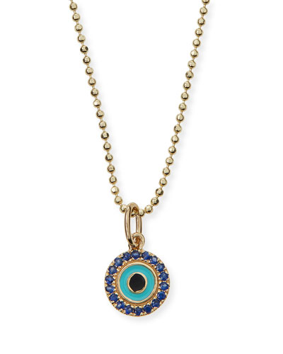 Turquoise Enamel Evil Eye Pendant Necklace