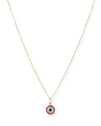 14K Small Enamel Eye Pendant Necklace