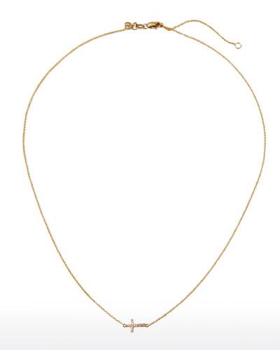 Small Gold Pave Diamond Cross Necklace