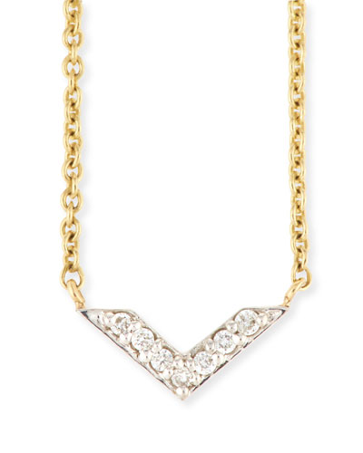 Two-Tone Diamond Chevron Necklace