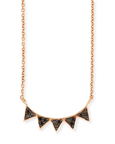 14K Rose Gold Black Diamond Triangle Necklace