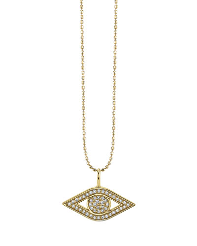 Small Pavé Diamond Pure Evil Eye Necklace