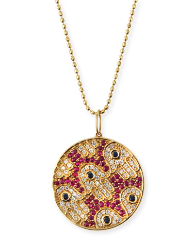 Diamond & Ruby Hamsa Medallion Necklace