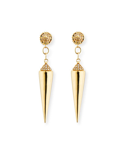 14K Gold Short Spike Drop Earrings with Diamonds
