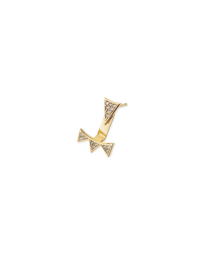 Single Earring with Diamond Triangle & 3-Triangle Ear Jacket