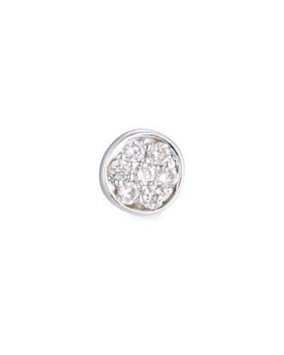 Single Pave Diamond Disc Stud Earring