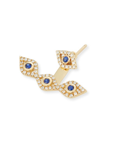 Diamond & Sapphire Evil Eye Jacket Earring
