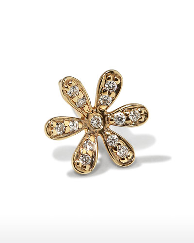 14K Gold Daisy Stud Earring with Diamonds