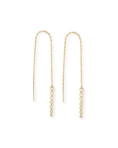 Diamond Bezel Thread-Through Earrings