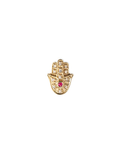 14k Yellow Gold Diamond Hamsa Single Stud Earring