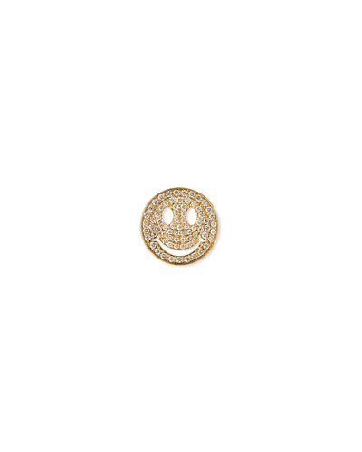 Large Pavé Diamond Happy Face Stud Earring