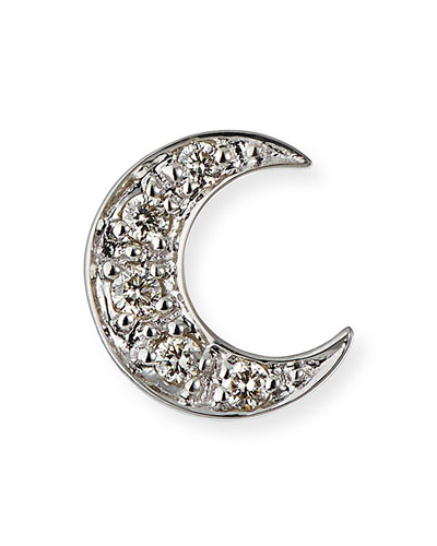 14k Pave Diamond Crescent Moon Single Stud Earring