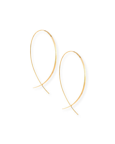 Flat 14K Upside Down Hoop Earrings