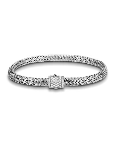 Extra Small Chain Bracelet w/ Diamond Pave Clasp