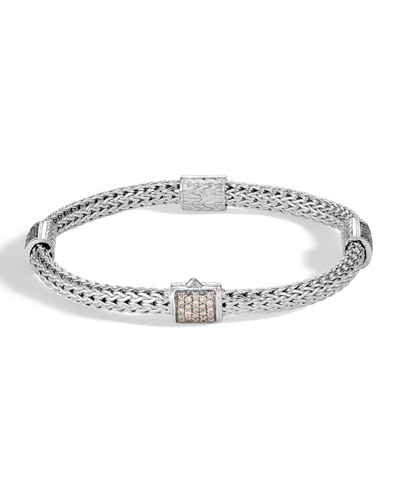 Classic Chain Pave Diamond Four-Station Bracelet, Size Medium