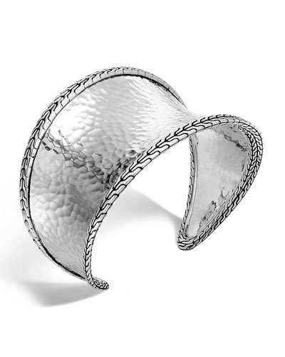Classic Chain Hammered Small Cuff Bracelet
