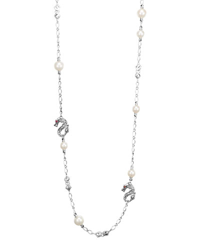Batu Naga Silver Sautoir Necklace with Freshwater Pearls, 36