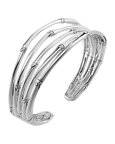Bamboo Silver Narrow Flex Cuff