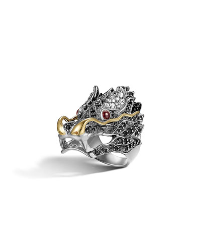 Sterling Silver & 18K Gold Naga Lava Dragon Ring, Black Sapphire