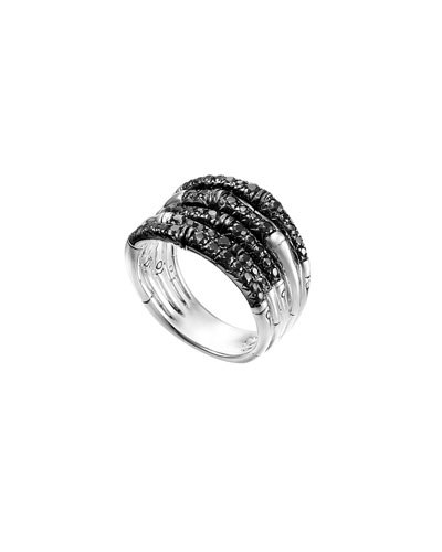 Bamboo Lava Wide Ring with Black Sapphires, Size 7