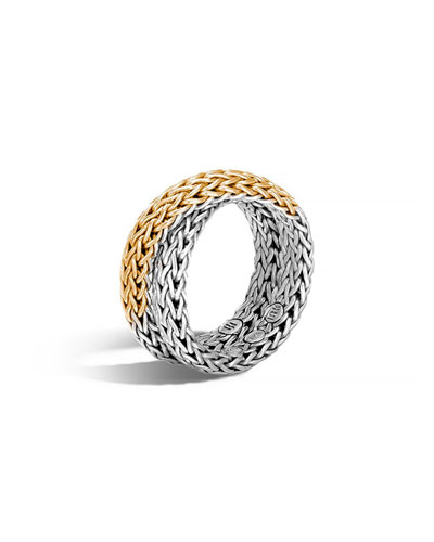 18K & Sterling Silver Crossover Chain Ring