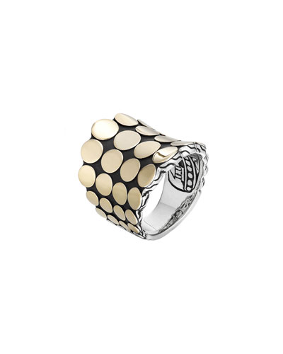 Dot Silver & 18k Gold Saddle Ring, Size 7