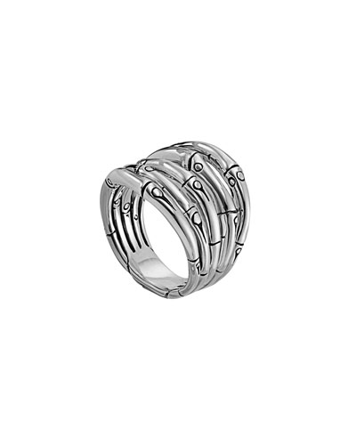 Bamboo Silver 18mm Wide Ring, Size 7