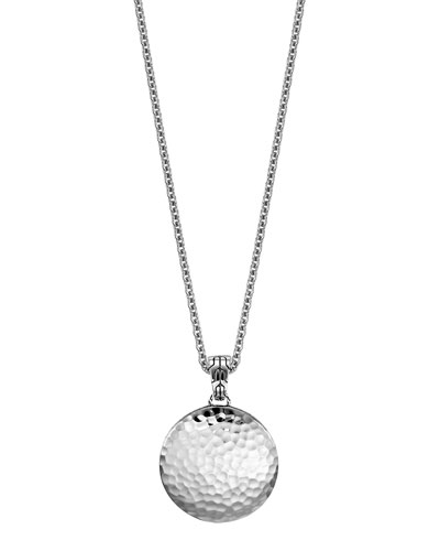 Palu Silver Medium Round Pendant Chain Necklace, 24