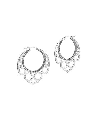 Naga Medium Silver Lace Hoop Earrings