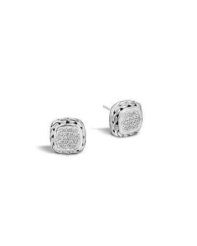 Pave Diamond Square Stud Earrings