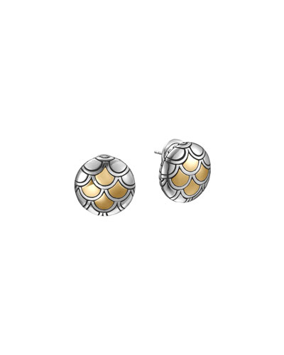 Naga Gold & Silver Button Earrings