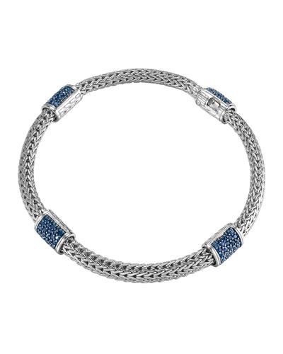 4-Station Classic Chain Blue Sapphire Bracelet