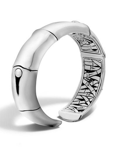 Bamboo Silver Cuff Bracelet