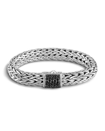 Classic Chain Sterling Silver Lava Large Bracelet With Black Sapphire, Silver/ Black Sapphire